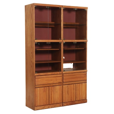 Pair of Wambold Oak Entertainment Center Cabinets, Late 20th Century