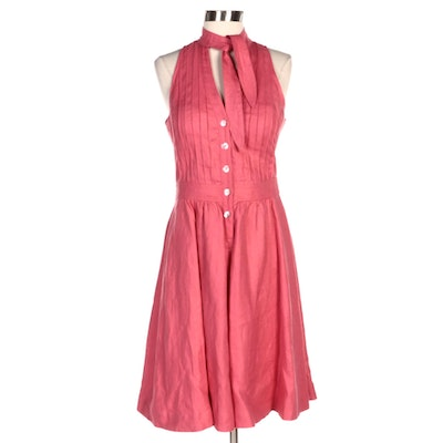Armani Collezioni Pink Pintuck Linen Sleeveless Dress with Tie Neck
