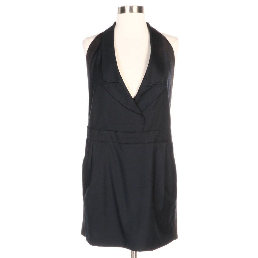 Stella McCartney Backless Tuxedo Dress in Navy Blue Wool