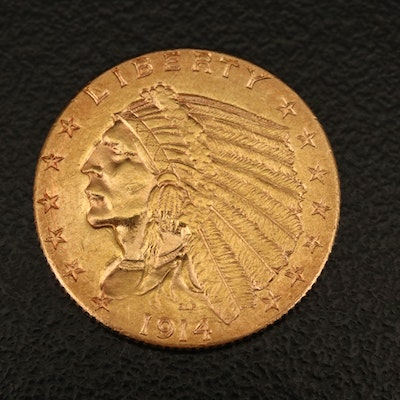 1914-D Indian Head $2.50 Quarter Eagle Gold Coin
