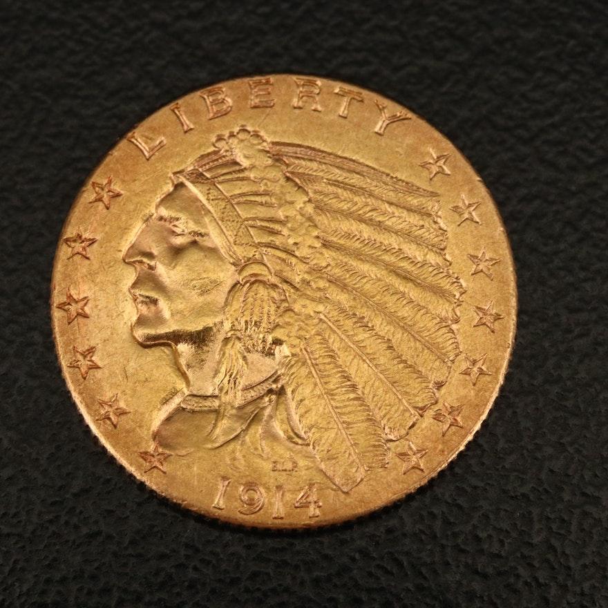1914-D Indian Head $2.50 Quarter Eagle Gold Coin