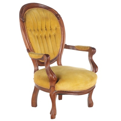 Victorian Rococo Revival Walnut Parlor Chair, Third Quarter 19th Century