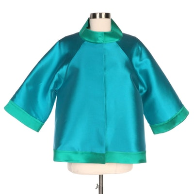 Emmelle Blue Iridescent Jacket with Green Trim