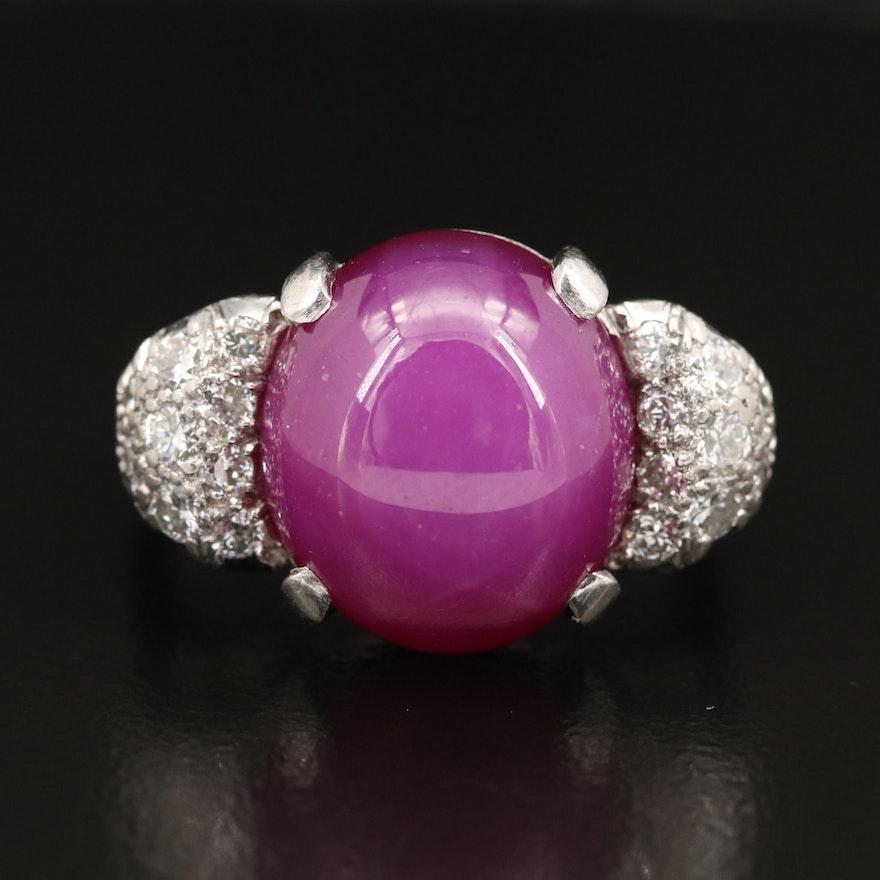 Retro Platinum 12.00 CT Star Sapphire Ring with 1.00 CTW Pavé Diamond Shoulders
