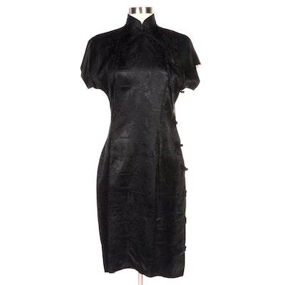 Japanese Fuku Black Pagoda Brocade Cheongsam Style Dress