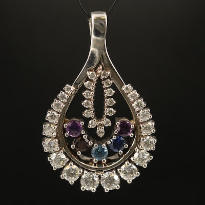 14K Gemstone and 2.39 CTW Diamond Pendant