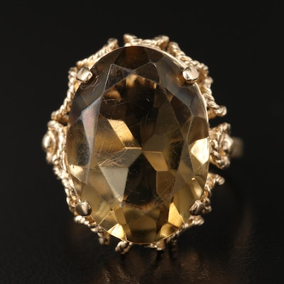 10K 12.26 CT Oval Faceted Citrine Wirework Ring