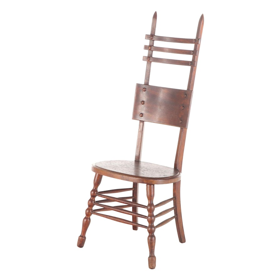 American Oak Ladderback and Bobbin-Turned Side Chair, Early 20th Century