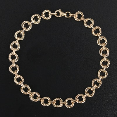 14K Textured Double Link Bracelet