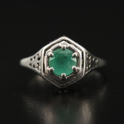 Edwardian 18K Emerald Ring