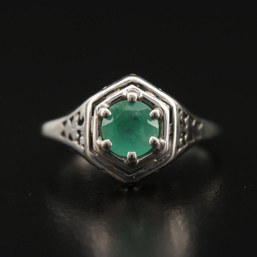 Edwardian 18K Emerald Ring
