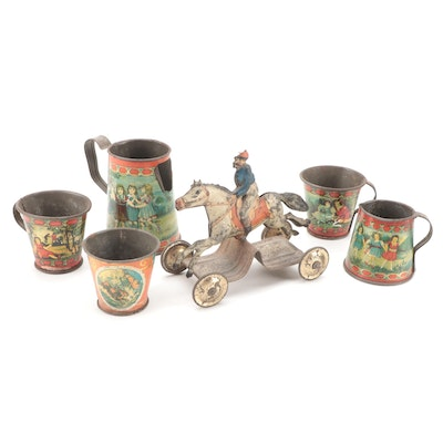 Tin Litho Horse and Rider Pull Toy with Childs Tea Set, Early 20th Century