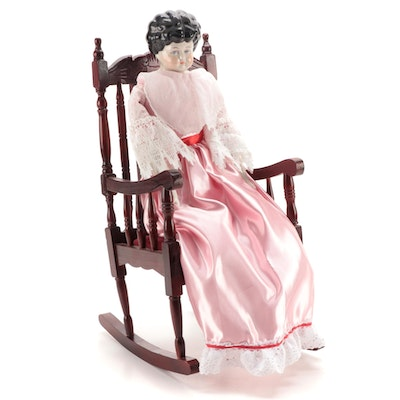 Low Brow China Doll with Cloth Body and Victorian Style Doll Chair, Mid-Late C.