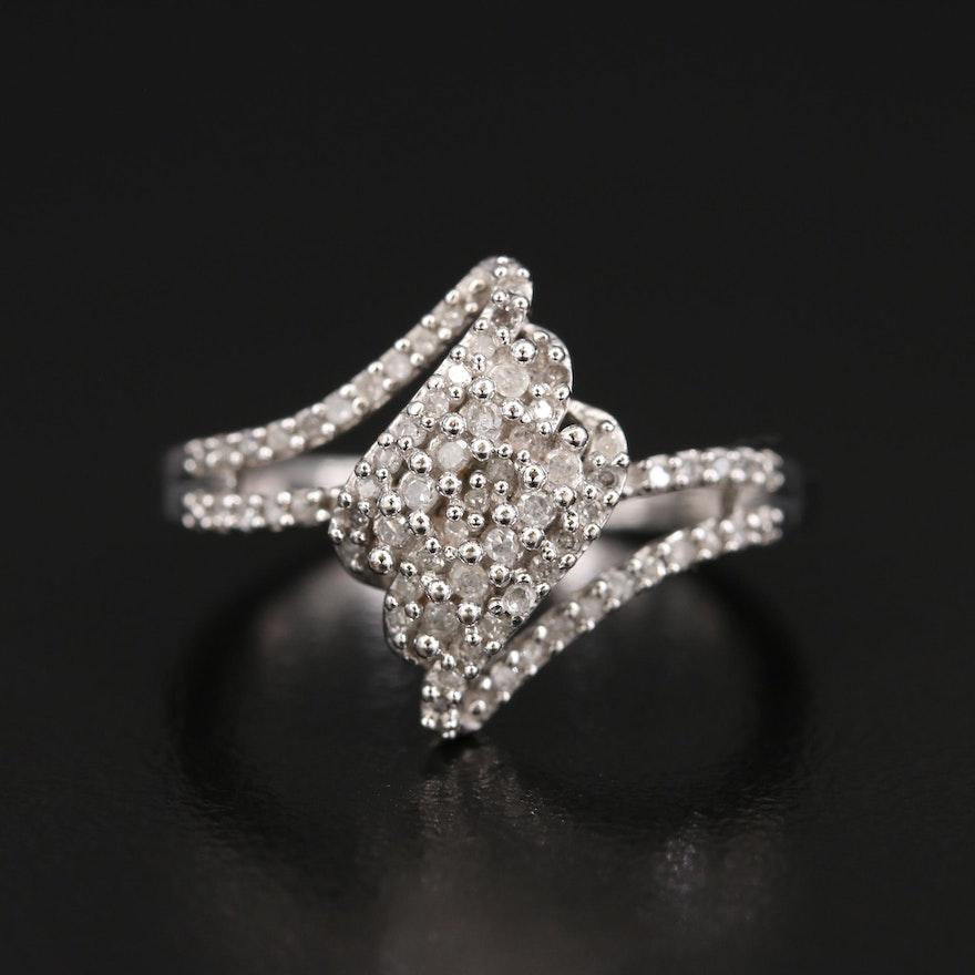 10K Pavé Diamond Ring with Split Shoulders