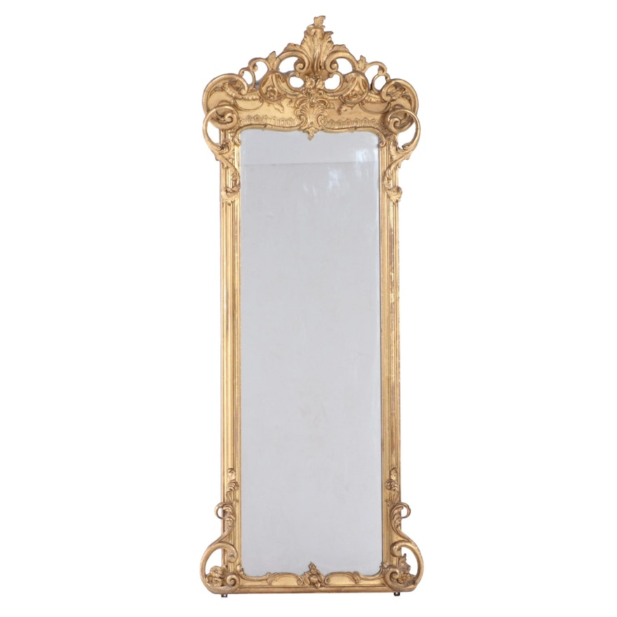 Rococo Style Giltwood Full Length Mirror, Early 20th Century