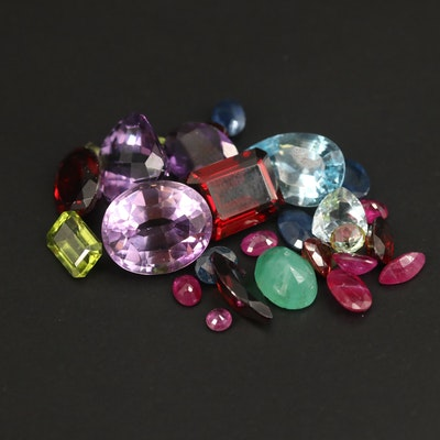 Loose Mixed Gemstones Including Amethyst, Garnet and Peridot
