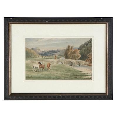 British School Pastoral Landscape Watercolor Painting, circa 1900