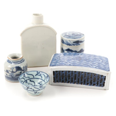 Chinese Export Porcelain Tea Caddy and Other Tableware