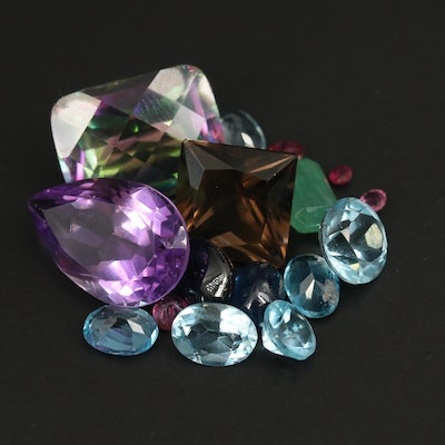 Loose Mixed Gemstones Including Amethyst, Swiss Blue Topaz and Smoky Quartz