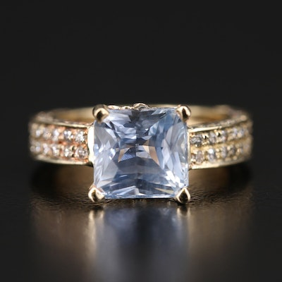 14K 3.86 CT Sri Lanka Sapphire and Diamond Ring with GIA Report