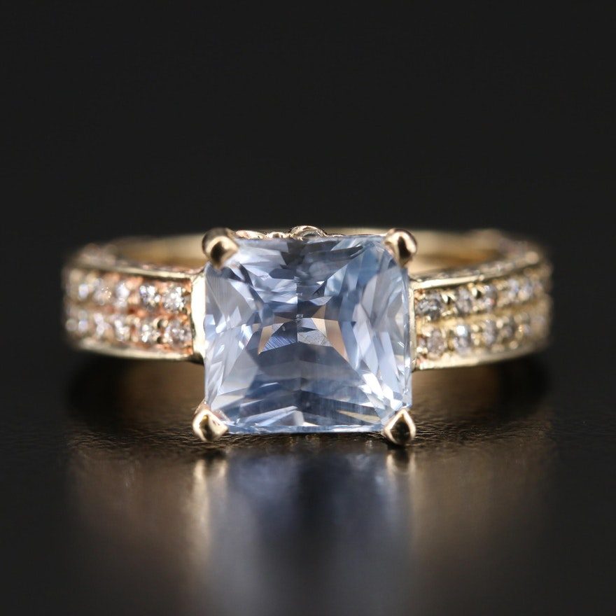 14K 3.86 CT Sri Lanka Sapphire and Diamond Ring with GIA Report