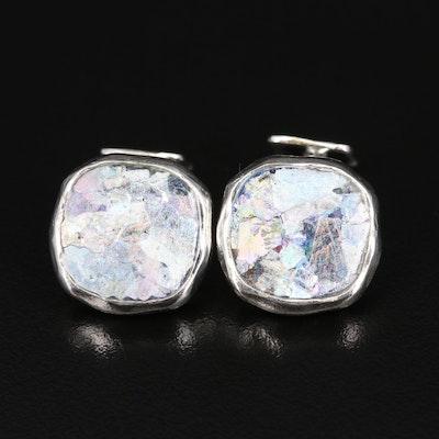 Sterling Art Glass Freeform Cufflinks