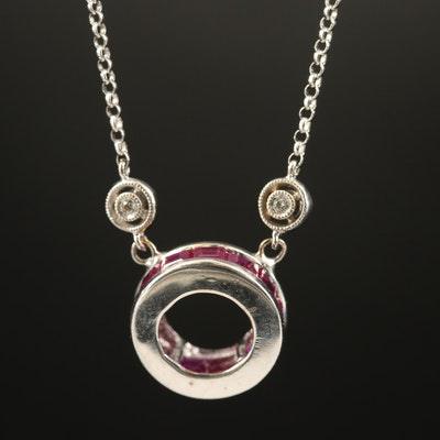 Gabriel & Co. 14K Diamond Station Chain with Ruby Pendant Necklace