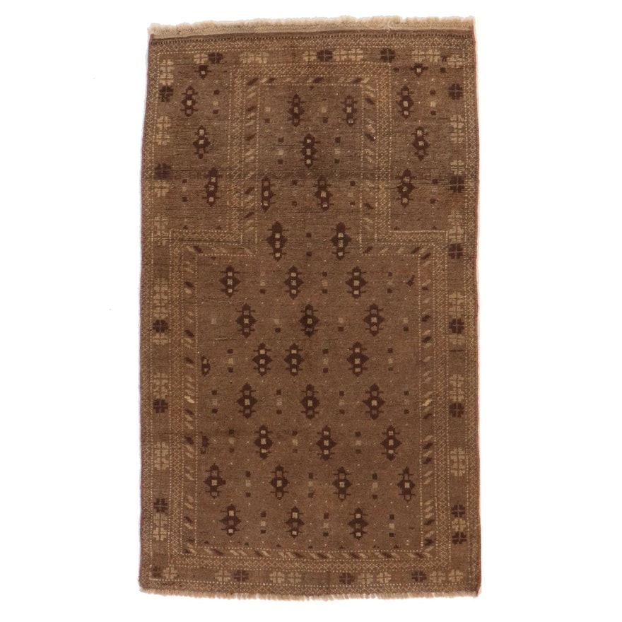 2'7 x 4'5 Hand-Knotted Afghan Baluch Accent Prayer Rug
