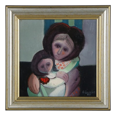 Alfredo Sinclair Oil Painting of Mother and Child, 1989