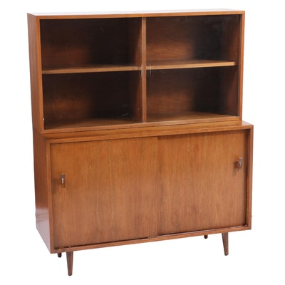 Mid Century Modern Walnut Veneer Sideboard with Glass Front Hutch