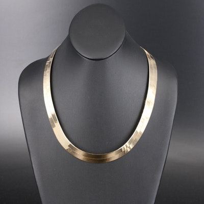 10K Wide Herringbone Chain Necklace