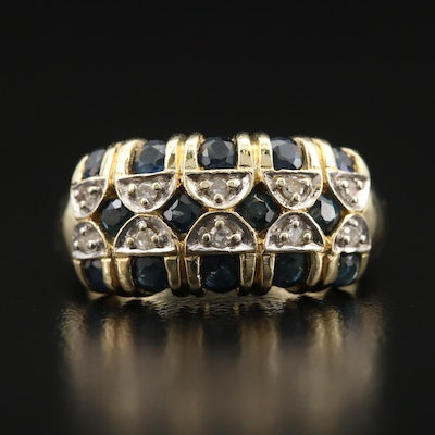 14K Diamond and Sapphire Ring