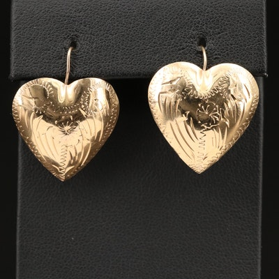 14K Engraved Heart Earrings