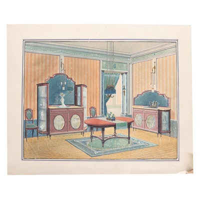 Manuel Lopez Gouache Illustration, Early 20th Century