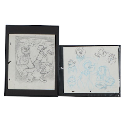 "Paramount and Walt Disney Productions Animation Drawings ""Popeye"""