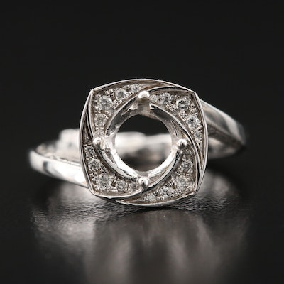 14K Diamond Semi-Mount Bypass Ring