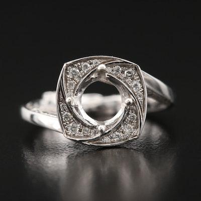 14K Diamond Semi-Mount Bypass Ring
