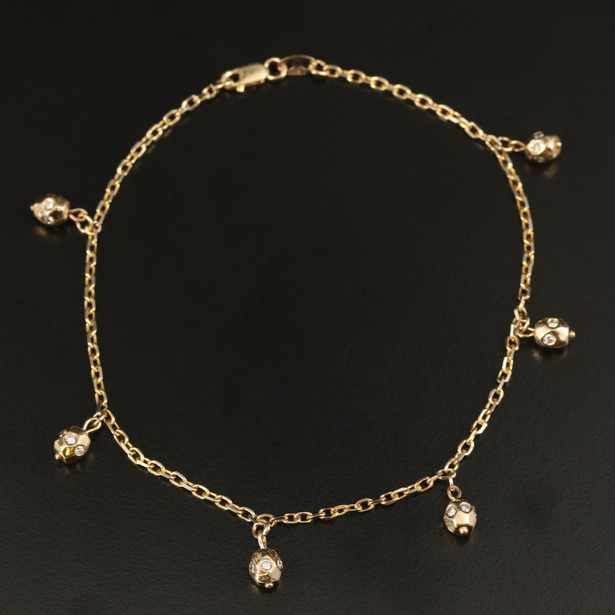 14K Cable Chain Anklet with Diamond Drops