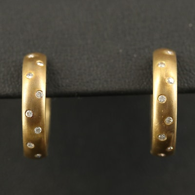 14K Flush Set Diamond Hoop Earrings