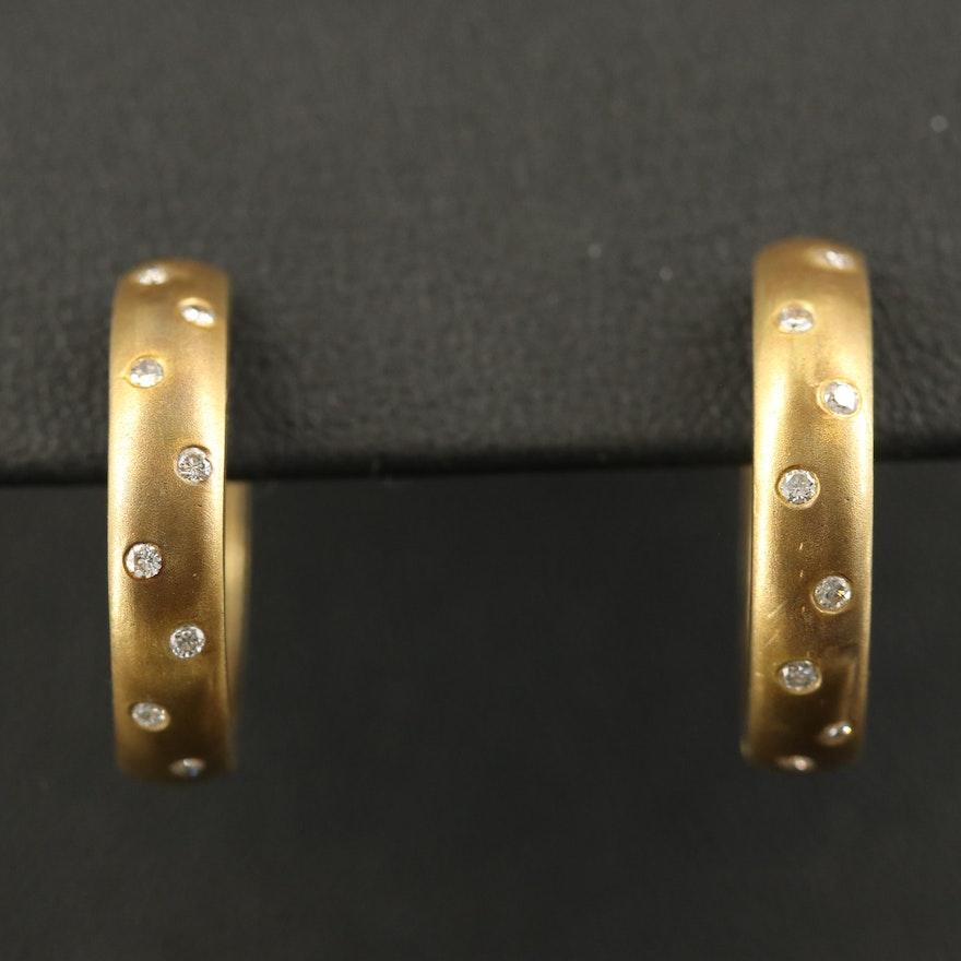 14K Flush Set Diamond Hoop Earrings