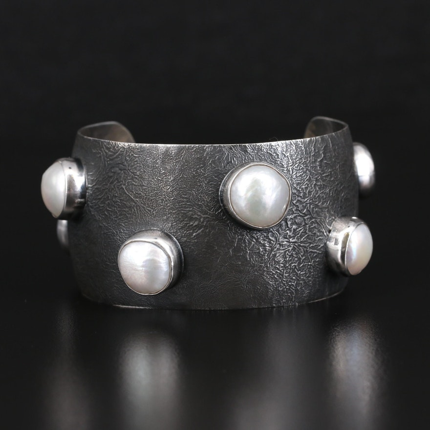 Mexican Sterling Bezel Set Pearl Cuff