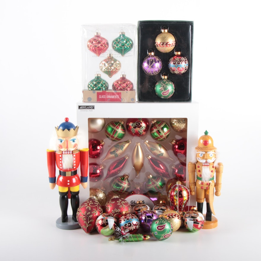 Kurt S. Adler Glass Ornaments with German Nutcrackers and Others, Late 20th c.
