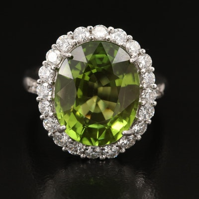 18K 9.60 CT Peridot and 1.00 CTW Diamond Ring with GIA Report
