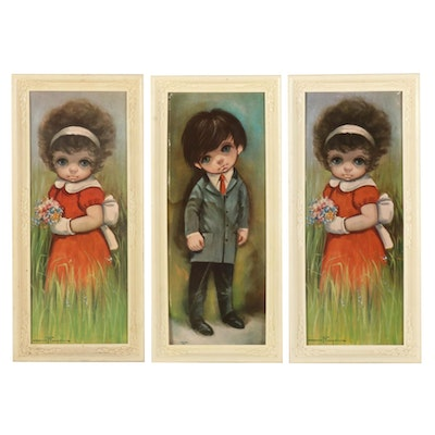 Offset Lithographs after Ozz França of Children in the Style of Margaret Keane