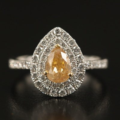 18K 1.41 CTW Diamond Double Halo Ring with GIA Report