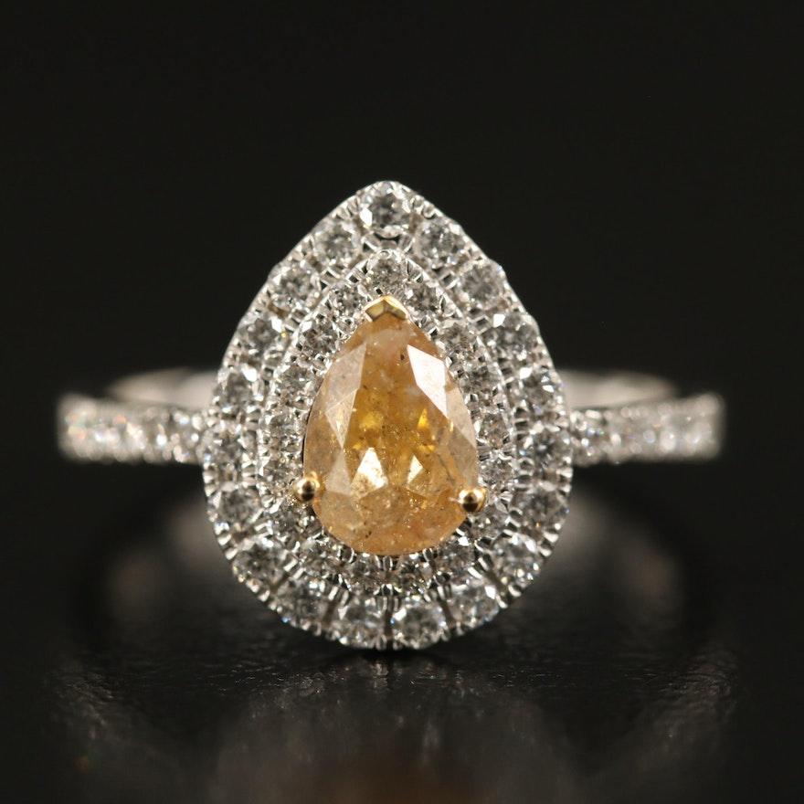 18K 1.41 CTW Diamond Double Halo Ring with GIA Report