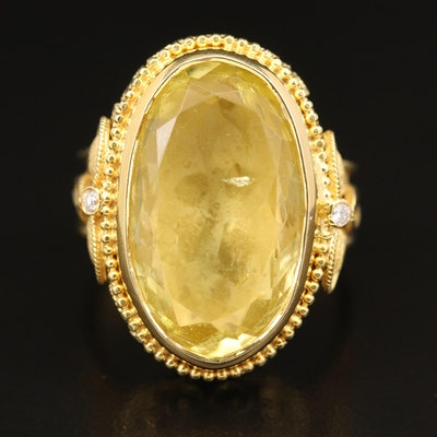 18K Citrine and Diamond Sandblast Finish and Beaded Detail Ring with GIA Report