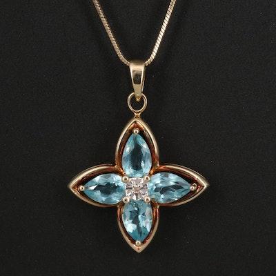14K Apatite and Diamond Quatrefoil Pendant Necklace