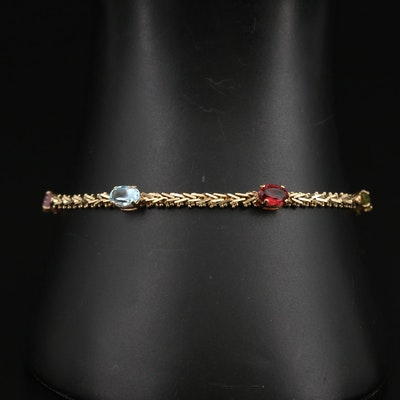 14K Gemstone Riccio Chain Station Bracelet