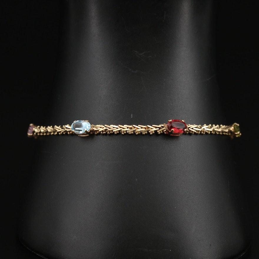 14K Gemstone Riccio Chain Station Bracelet